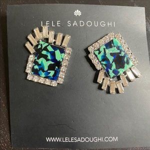 NWT Anthro Sadoughi Crystal Lily Earrings